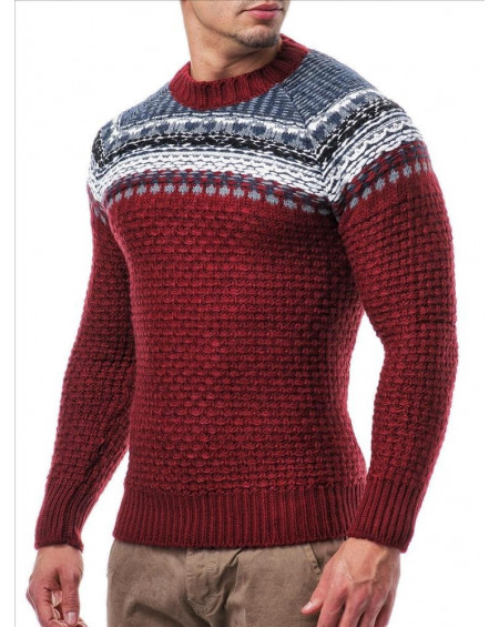 Pull col rond homme rouge vintage tendance