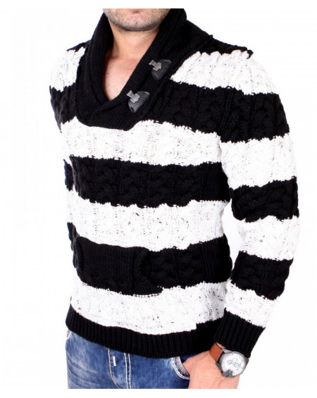 Pull col chale homme noir maille tendance