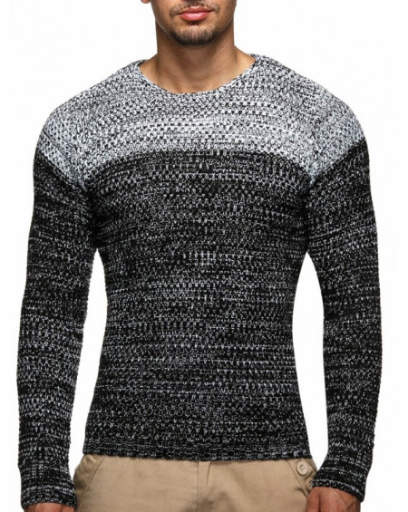 Pull col rond homme gris a rayure original