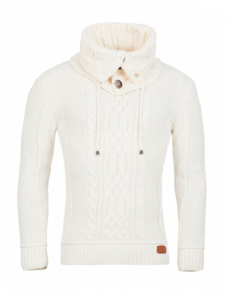 Pull col roulé homme blanc grosse maille chic