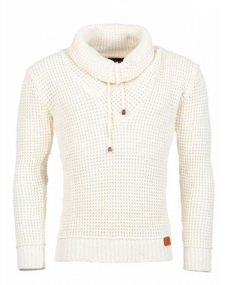 Pull col roulé homme blanc maille classe