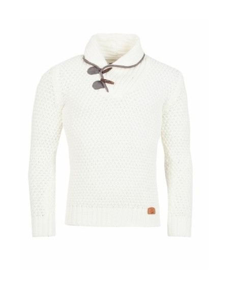 Pull laine homme blanc coudiere chic