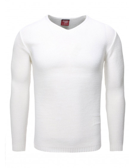 Pull col v homme blanc fin chic