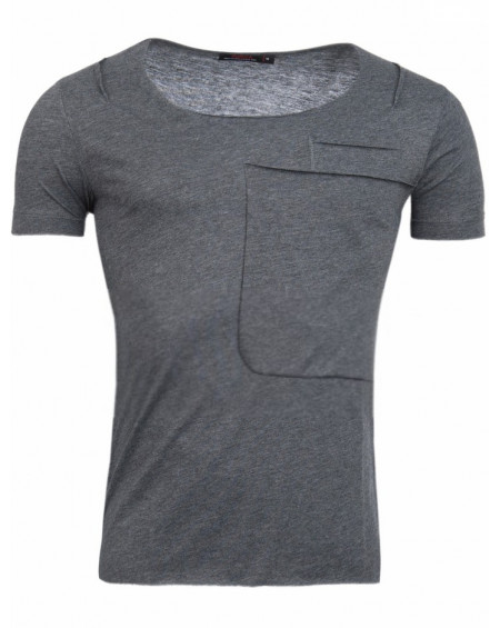 t shirt stylé homme gris grand col ouvert fashion