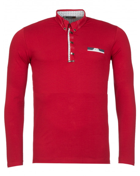 Polo Manches Longues homme rouge slim stylé