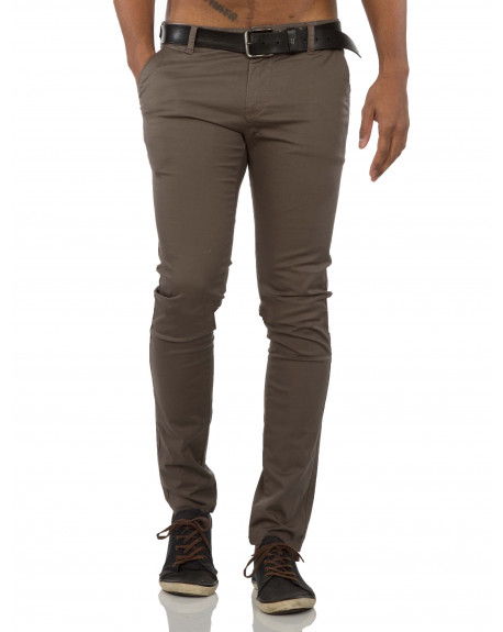 Pantalon chino homme marron moulant fashion