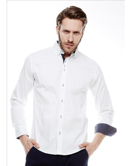 Chemise coupe slim homme blanche italienne tendance