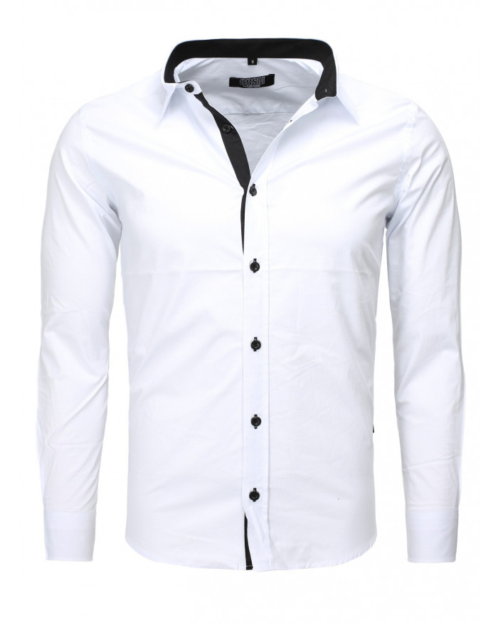 Chemise coupe ajust e homme blanc pas ch re - Chemise homme fashion coupe italienne cintree ...
