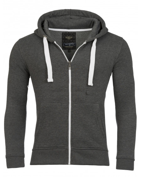Sweat zippé homme anthracite simple tendance