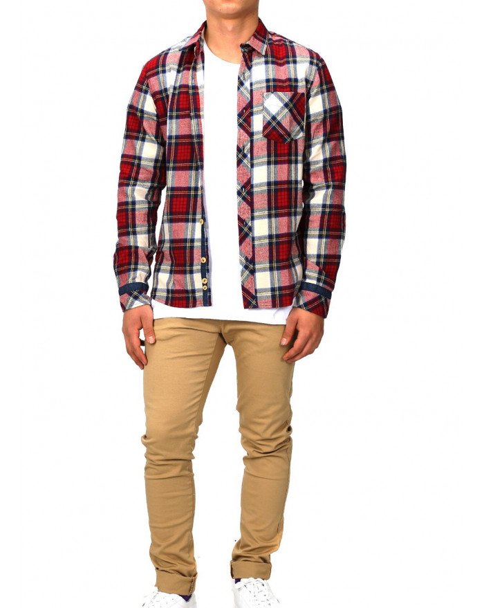 Chemise a carreaux homme rouge slim fit for Chemise a carreaux homme swag