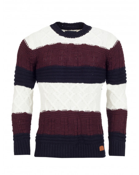 Pull col rond homme marron a rayure classe
