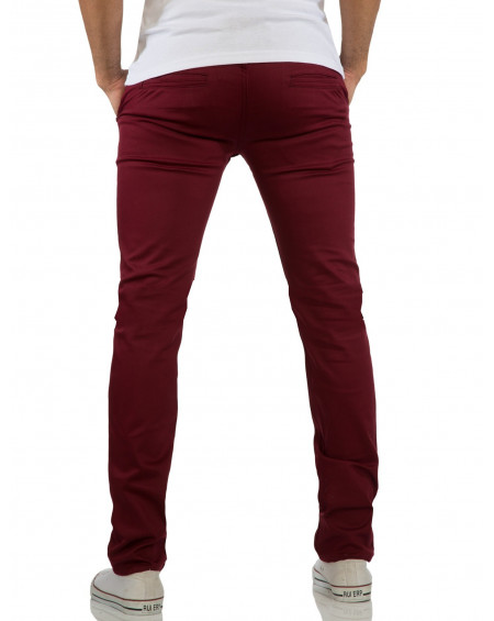 Pantalon chino homme rouge slim classe