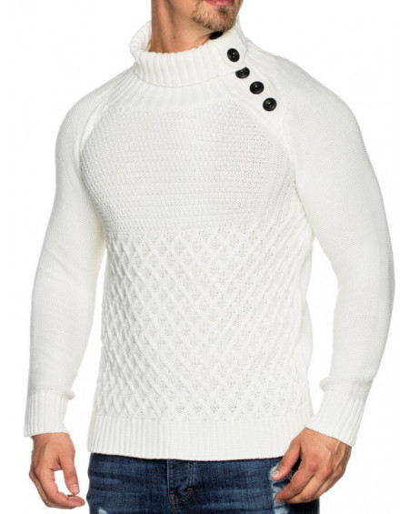 Pull tres chaud homme blanc slim fashion