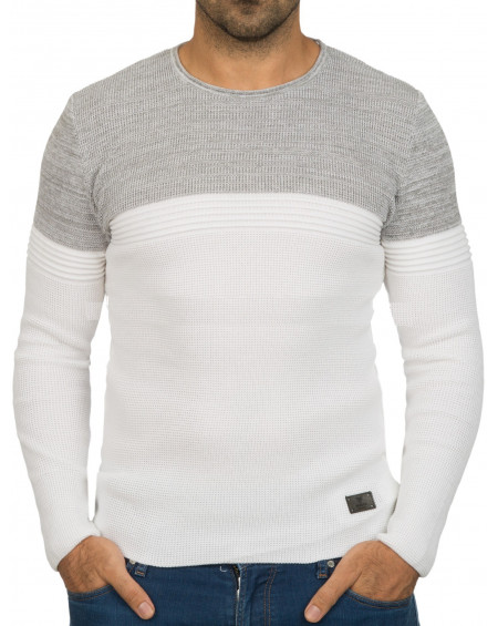 Pull col rond homme blanc bicolore fashion