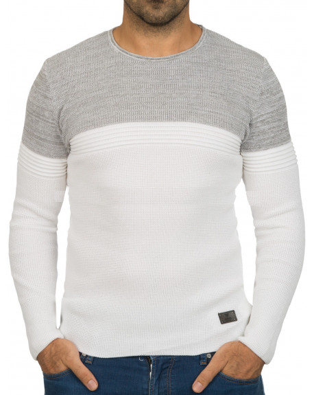 Solde Pull col rond homme blanc bicolore fashion fc549411fc84