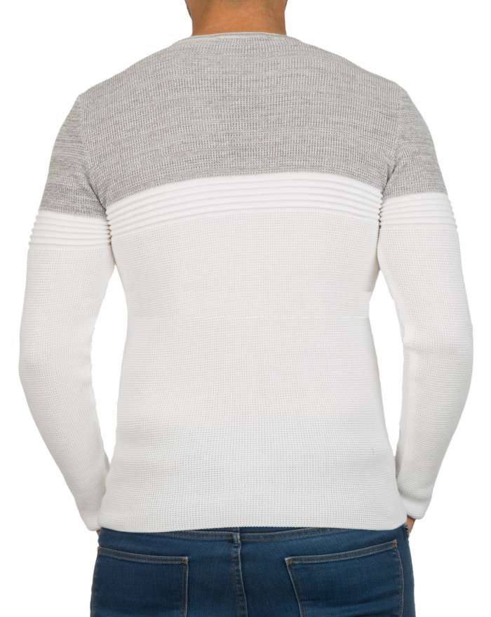 ... Pull col rond homme blanc bicolore fashion cc91a763a485