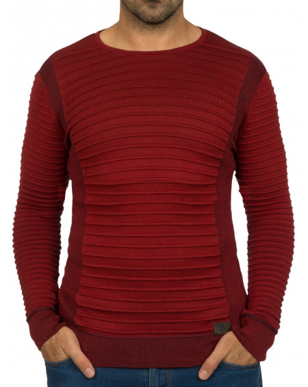 Pull col rond homme rouge pas cher stylé