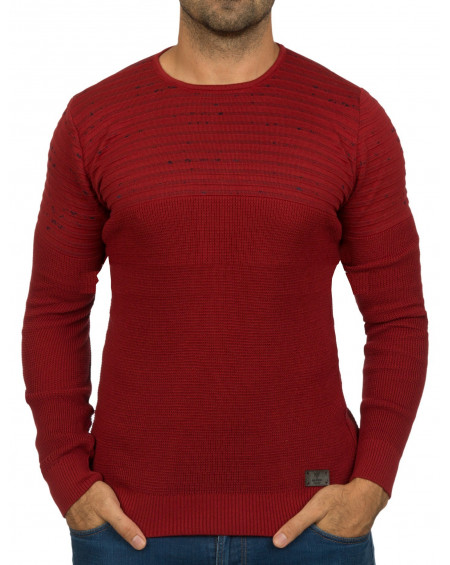 Pull col rond homme rouge fin classe