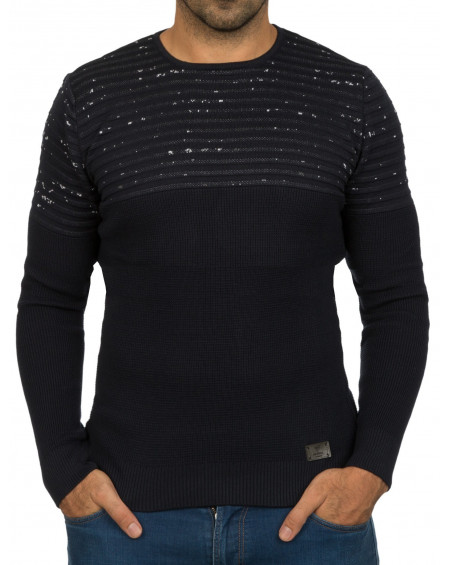 Pull col rond homme bleu chaud chic