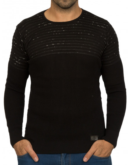 Pull col rond homme noir hiver tendance