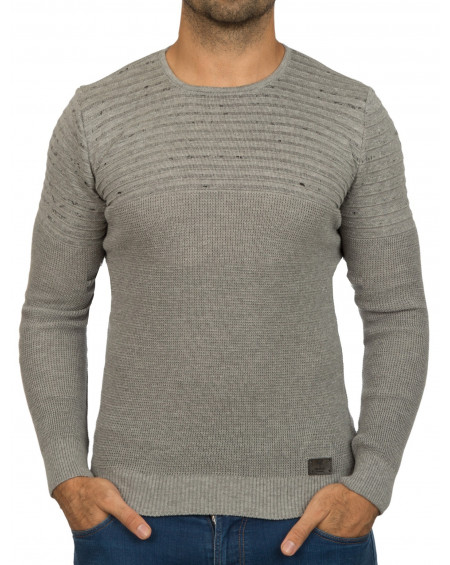 Pull col rond homme gris coton stylé