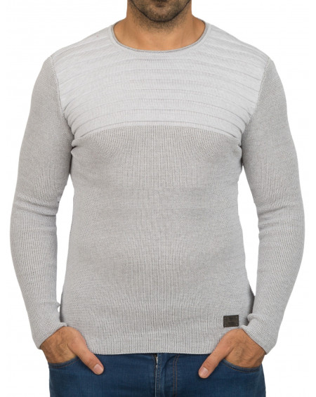Pull col rond homme blanc leger original