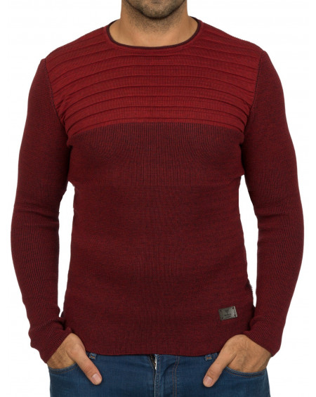 Pull col rond homme rouge slim àla mode