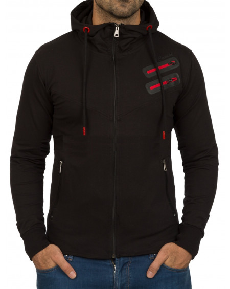 Sweat à capuche homme noir zippé fashion