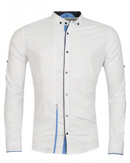 Chemise à motifs homme blanche moulante swagg