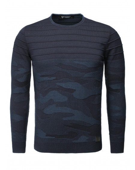 Pull col rond homme marine camouflage tendance