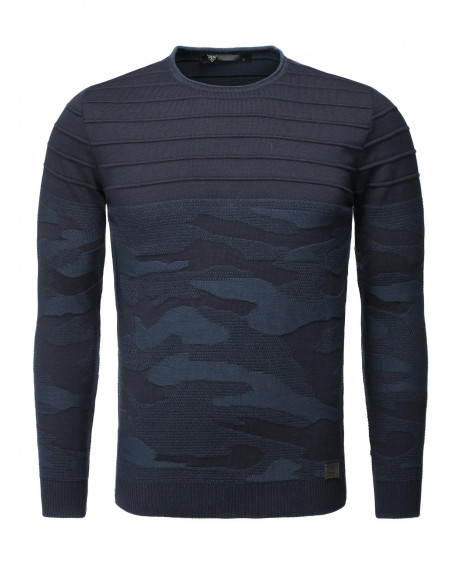 f7d71c1ea3ccb Solde Pull col rond homme marine camouflage tendance