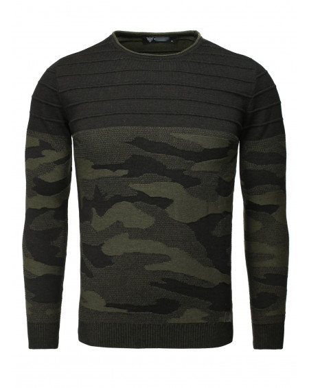 Pull col rond homme noir camouflage classe