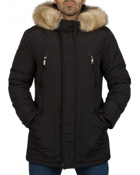 Manteau long homme noir cintré fashion