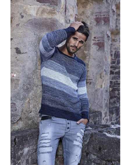 Pull a rayure homme marine col rond stylé
