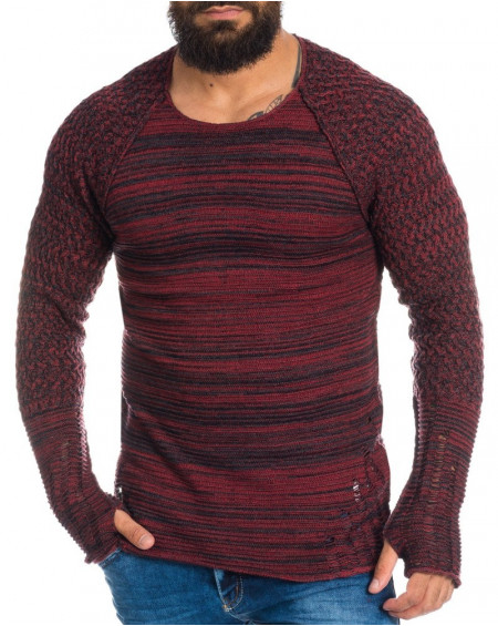 Pull fantaisie homme rouge slim fit tendance