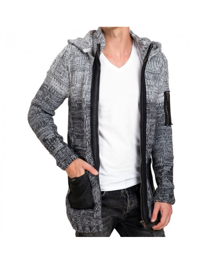 gilet long grosse maille homme gris a capuche. Black Bedroom Furniture Sets. Home Design Ideas