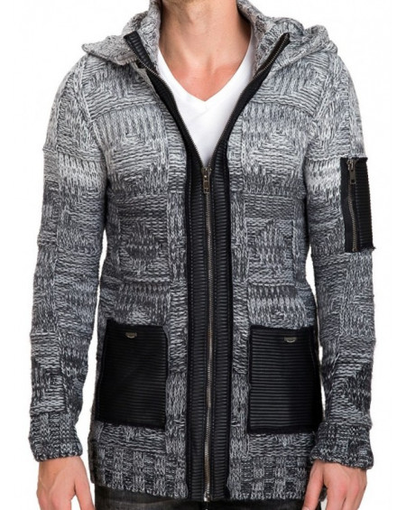 Gilet long grosse maille homme gris a capuche fashion
