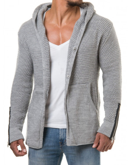 Gilet long homme gris en maille fashion