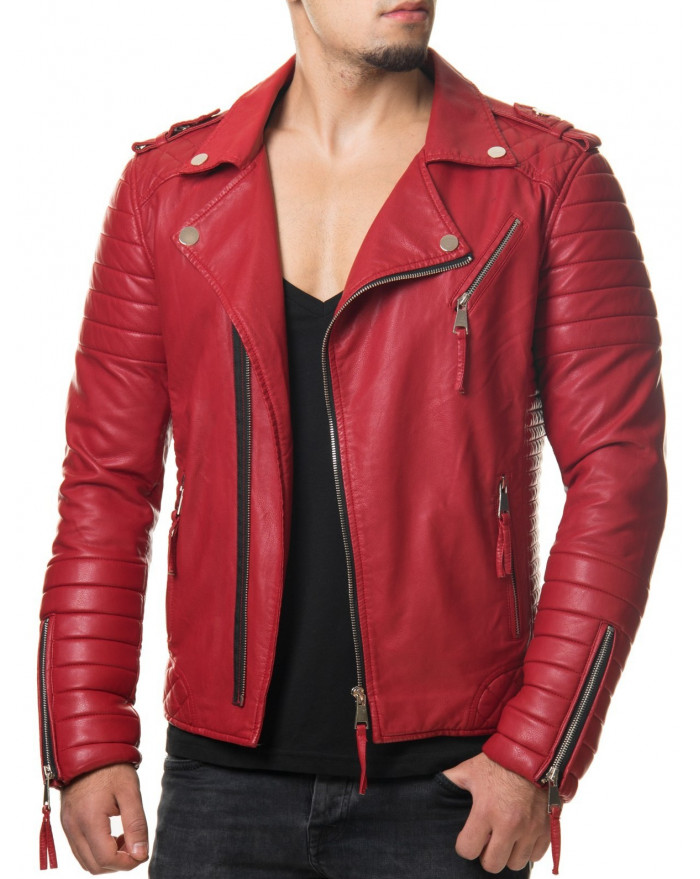 blouson motard simili cuir homme rouge cintr. Black Bedroom Furniture Sets. Home Design Ideas