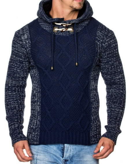 Pull gros col haut homme marine pas cher hiver fashion
