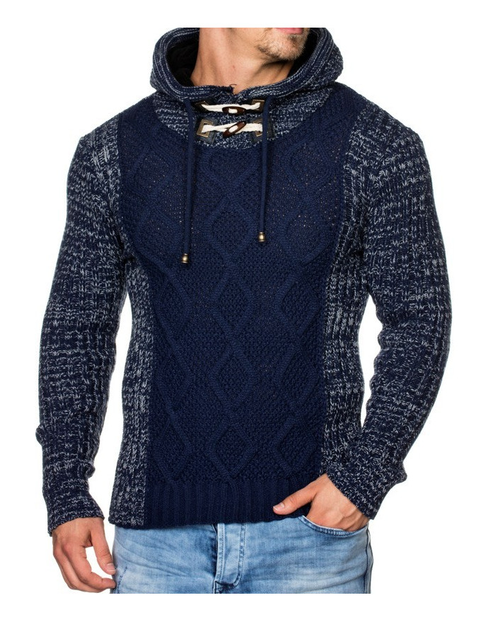 Pull Gros Col Haut Homme Marine Pas Cher Hiver