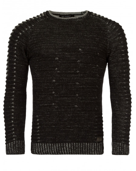 Pull chiné homme noir slim fashion