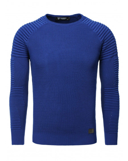 Pull col rond homme bleu moulant classe