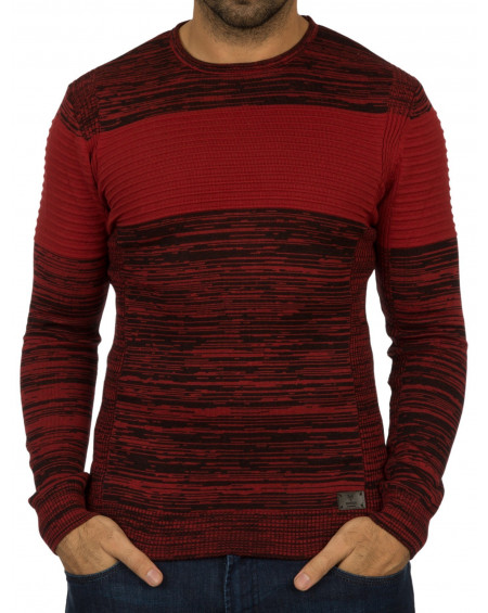 Pull jeune homme rouge a rayure stylé