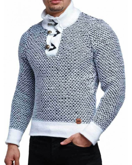 Pull col haut homme blanc maille classe