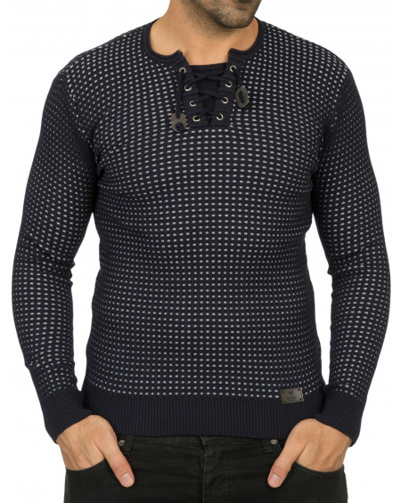 Pull a motif homme marine moulant original