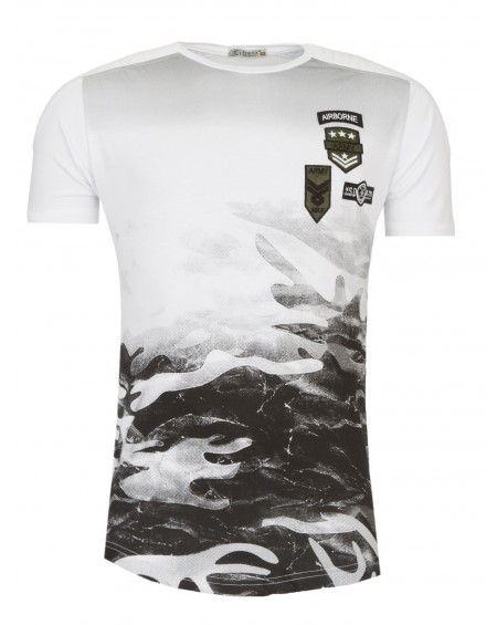 tee shirt manche courte homme blanc camouflage fashion