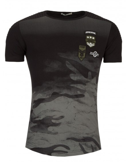 tee shirt pres du corps homme noir camouflage stylé