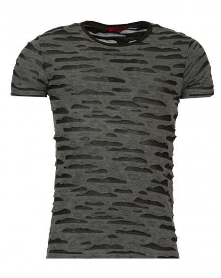 T-shirt troué homme noir slim fit fashion