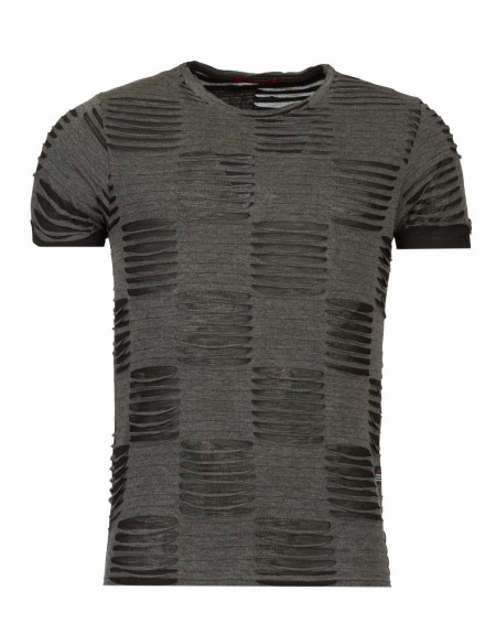 T-shirt destroy homme gris manche courte fashion